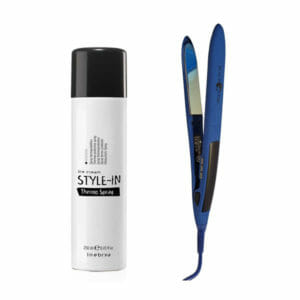 kit piastra professionale capelli blu black starthermo spray 250ml inebrya